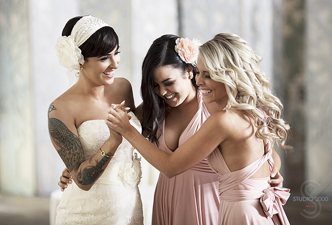 Bride with her Bridesmaids candid