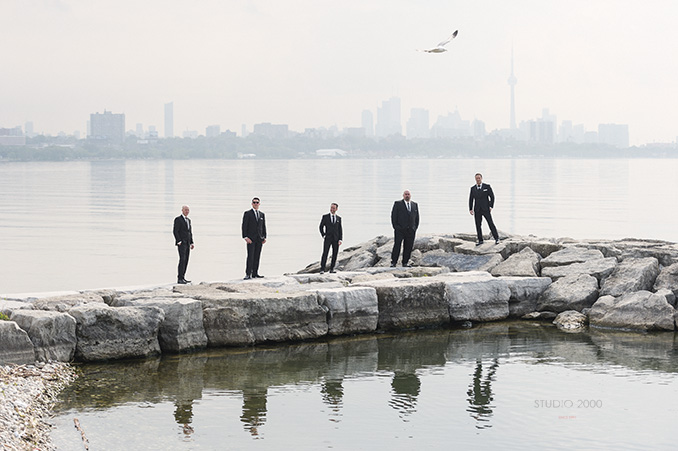 Grom and groomsmen with Toronto skyline